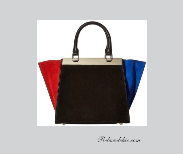 Color block trapeze tote